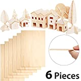 6 Pieces Balsa Wood Sheets 300 x 200 x 1.5 mm Thin Basswood Wood Sheets Hobby Wood Plywood Board for...