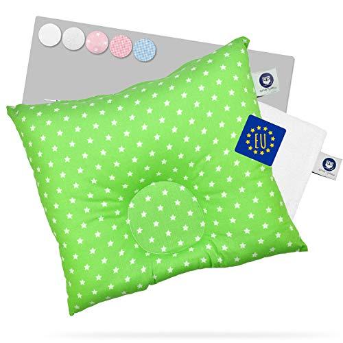 Smartpillow orthopädisches Babykopfkissen gegen Plattkopf und Kopfverformung I Ergonomisches Baby Kopfkissen I Babykissen I Baby Pillow grün