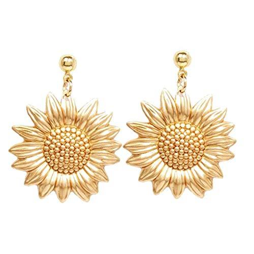 DINEGG Sunflower Pendant Drop Earring Golden Sun Flowers Ear Stud For Women Girl 1 Pair QQQNE