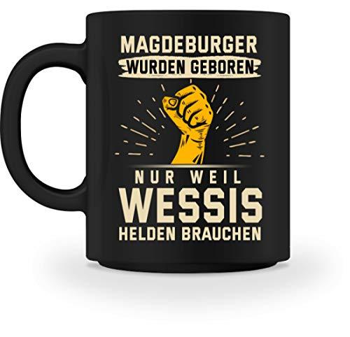 PlimPlom Magdeburg Tasse Schwarz Magdeburger Kaffeetasse Mit Lustigen Spruch Bürotasse Teetasse - Tasse -M-Schwarz