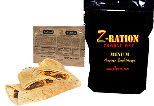 MRE Z-Ration (Zombie MRE) Custom Meals Ready to Eat! (MENU M - Mexican Style Beef Wraps)