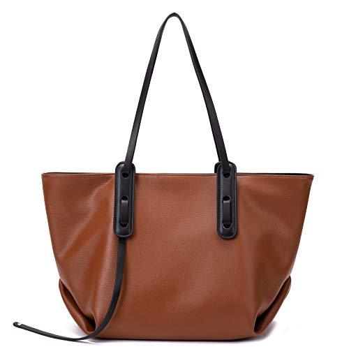 Women Fashion Purses and Handbags Tote Shoulder Hobo Bag, Top Handle Satchel Bucket Purses Soft Faux Leather Brown