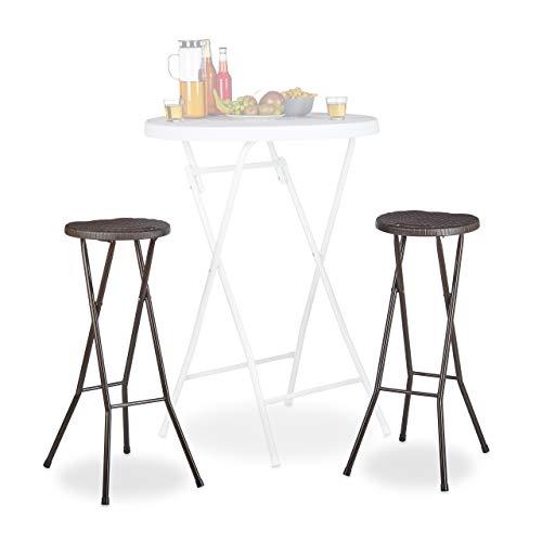Relaxdays Bastian Plegable taburetes de Bar (2Unidades, Impermeable, 80cm de Altura, Desayuno Silla Doble Asiento Unidades, plástico, Contador, Color marrón