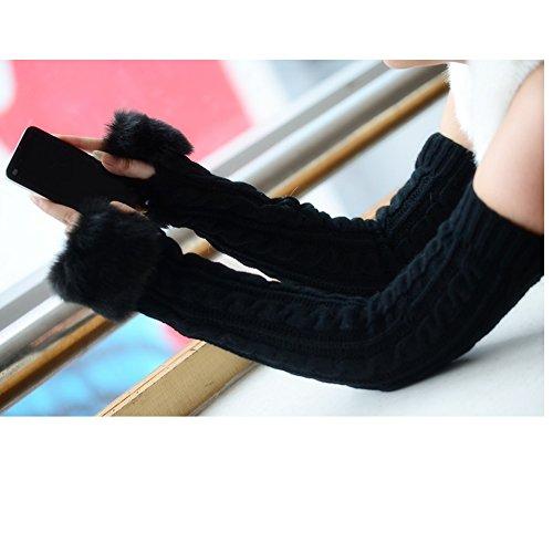 Women Girls Soft Wool Knit Faux Fur Winter Fingerless Gloves Cold Weather Mitten Arm Hand Warmer, Long/Medium/Short Sleeve