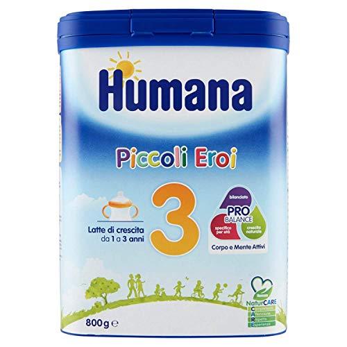 Humana Piccoli Eroi Latte di Crescita 3 Wachstumsmilch Milchpulver zum Anrühren von 1 bis 3 Jahren 800g Babynahrung Kindergetränk mit Altersgerechtem Eiweißgehalt