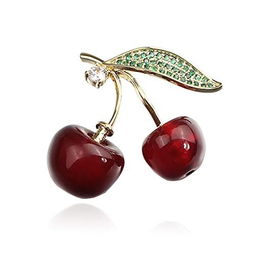 Broche de cerezo exquisito diamante tachonado lindo fruta pequeño pin bufanda chal clip insignia broche joyería encanto accesorios