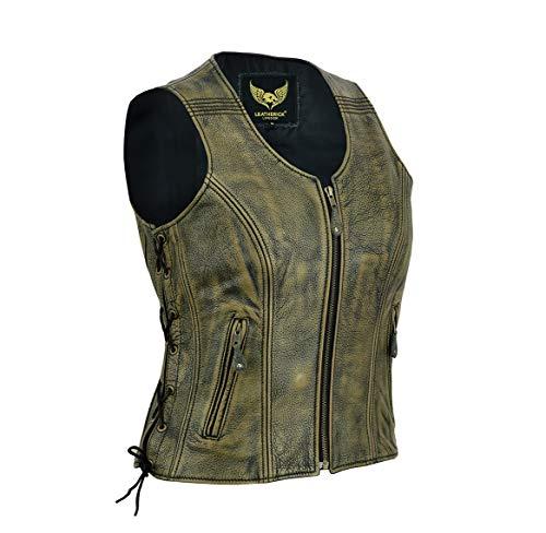 Chaleco de cuero vintage para mujer, chaqueta / chaleco sin mangas de cuero de búfalo de grano superior genuino marrón envejecido M (10)