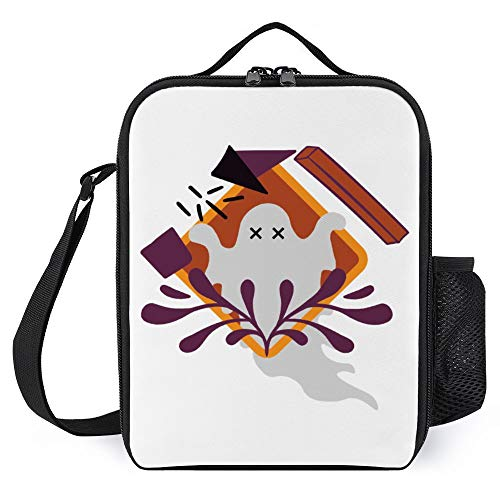 Lunch Box for Kids Lunch Bags with Bottle Holder for Women Men Ghost Abstract Print Art Style Fashion Insulated Lunchbox Large Reusable Meal Prep Bag for Work School Picnic