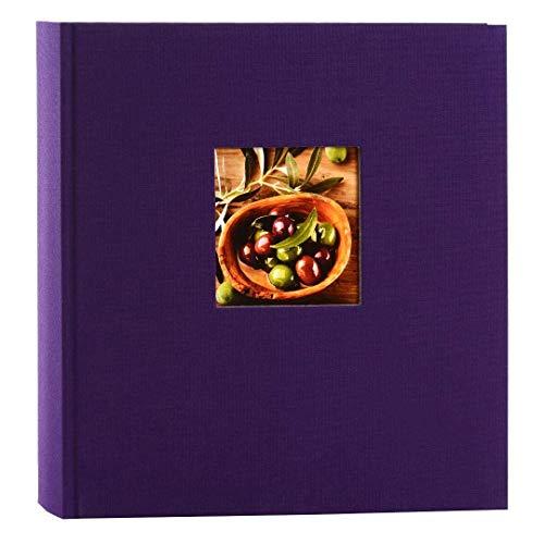 goldbuch Fotoalbum mit Fensterausschnitt, Bella Vista, 25 x 25 cm, 60 weiße Seiten mit Pergamin-Trennblättern, Leinen, Lila, 24894