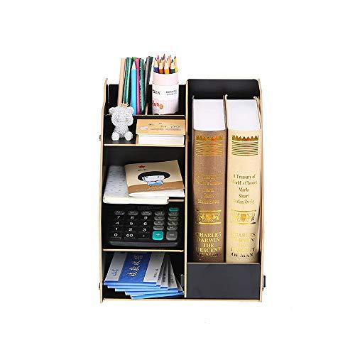 Archivo de oficina de madera del estante de escritorio Acabado Caja de almacenamiento de información Rack de múltiples capas Archivo Rack Acabado de archivos con el lápiz Box Muestra de bastidores de