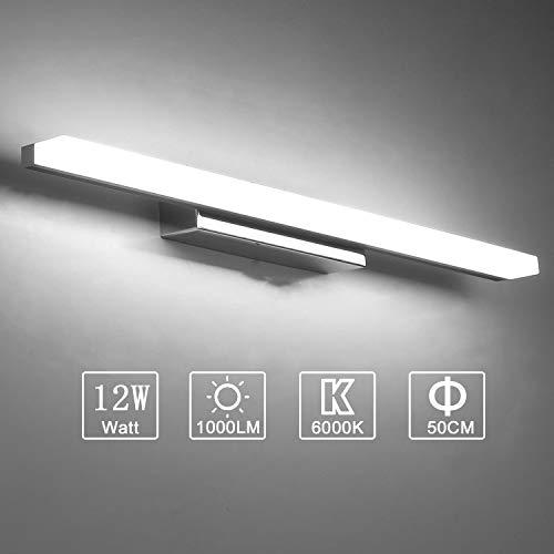 Yafido Aplique Espejo Ba/ño Interior LED 12W luz Ba/ño Soporte Ajustable Negro L/ámpara de Pared Espejo Iluminaci/ón para Maquillaje Blanco Neutro 4000K 1000LM 50CM No-regulable IP44