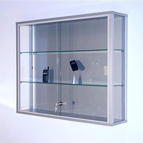 Wandvitrine, BxTxH 1000x200x800 mm, Aluprofile, 2 Glasböden, Schiebetüren, Zylinderschloss