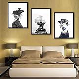 QHZSFF Pintura Art Deco Chica parisina Cuadros De Lienzo, Pinturas Al Óleo, Impresiones, Decoración De Lienzo, Arte De La Pared del Hogar 50x70cm x 3 piezas