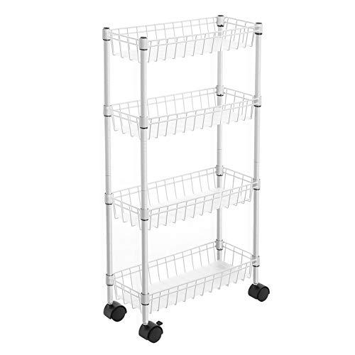 SONGMICS Nischenregal mit 4 Ebenen, 40 x 15 x 80 cm, Rollwagen, Lagerregal mit Rollen, für kleine und begrenzte Räume, Küche, Waschküche, weiß LGR204W01