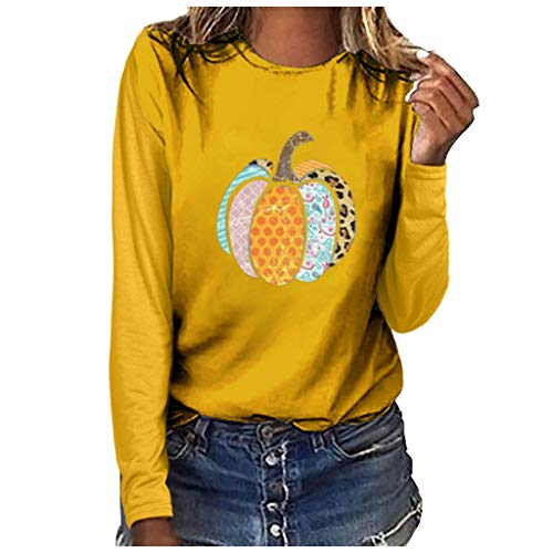 Sweat Femme, Tefamore Halloween Costume Impression de Pumkping Col Rond T-Shirt à Manches Longues Chemisier Grande Taille