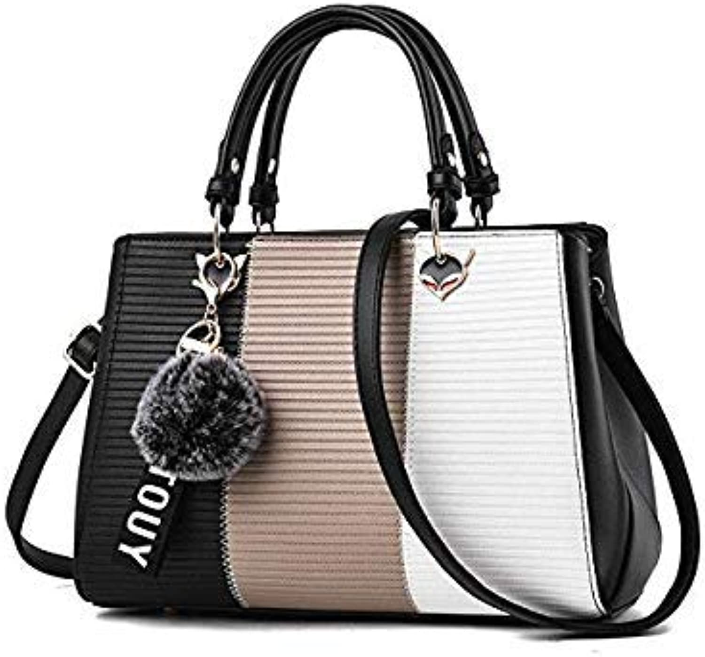 Bloomerang Women PU Leather Handbag Patchwork Tote Bag Female Shoulder Crossbody Bags Ladies Artificial Leather Top-Handle Bag color Black