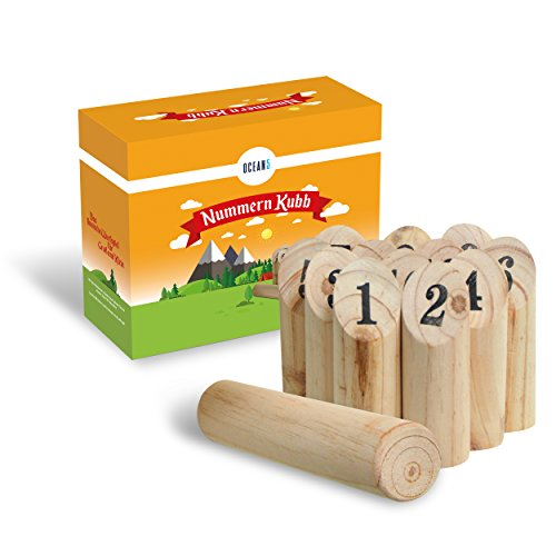Ocean 5 - Nummern Kubb - das Zahlen Wurfspiel für draußen - Holz-Kegel Wikinger Spiel aus Skandinavien - das Geschicklichkeitsspiel für den Sommer