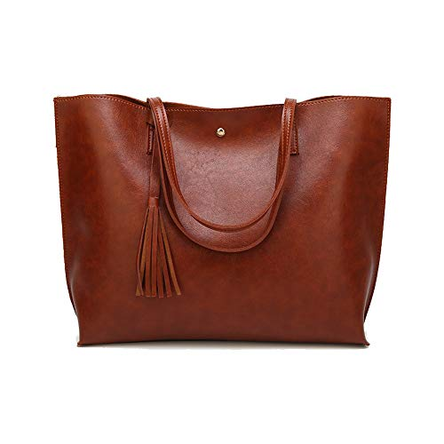 Womens Soft PVC Leather Handbags Large Capacity Top-Handle Casual Tote Shoulder Laptop Work Bags