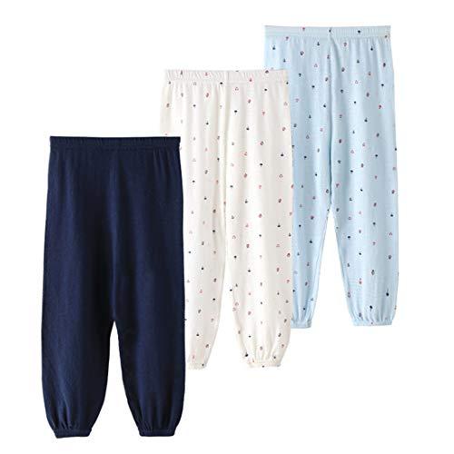 Bouclede Baby Boys Girls 3-Pack Mesh Pajama Pants Anti-Mosquito Pants 1-7T (6-7 Years, Navy)
