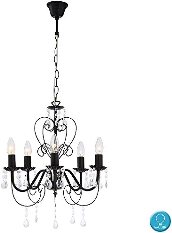 Hnge Decken Kron Leuchter Lüster Beleuchtung Lampe Licht schwarz im Set inklusive LED Leuchtmittel