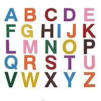 フェルト文字ステッカー 6.5cm 52ピース 自己粘着フォーム文字フェルトアルファベットステッカー A~Z 子供の装飾 アート&クラフト用 8色詰め合わせ