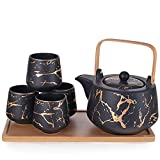 Happy Sales HSTS-BLKMBL, Modern Style Marble Design Porcelain Tea Set 37 fl oz Teapot with Handle and 4 Tea Cups On Wooden Tray, Black