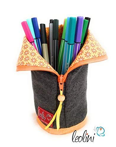 Stehendes Federmäppchen Stiftetasche Schminktasche Blume des Lebens, handmade Stickerei personalisiert