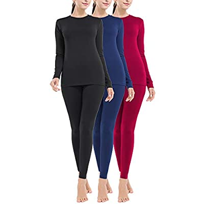 MANCYFIT Thermal Underwear for Women Long Johns Set Fleece Lined Ultra Soft 3 Pack Black/Red/Blue X-Large