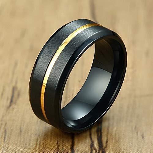 ERDING Fashion Cadeau/Heren Basic 8MM Bruiloft Bands Ringen Mat Afgewerkt RVS met Dunne Lijn Ring mannelijke Geschenken voor Hem