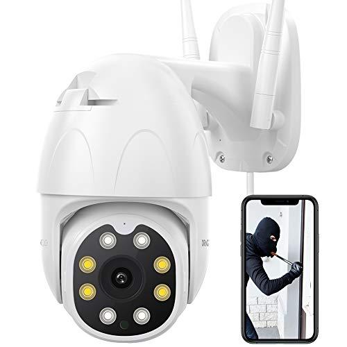 Dragon Touch OD10 Cámara IP de Vigilancia Exterior WiFi 1080P HD PTZ con Visión Nocturna, Audio Bidireccional, Detección de Movimiento, Resistente al Agua, Compatible con Alexa y Google Home