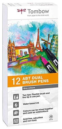 Tombow ABT-12P-3 Fasermaler Dual Brush Pen mit zwei Spitzen 12er Set, grautöne, bunt