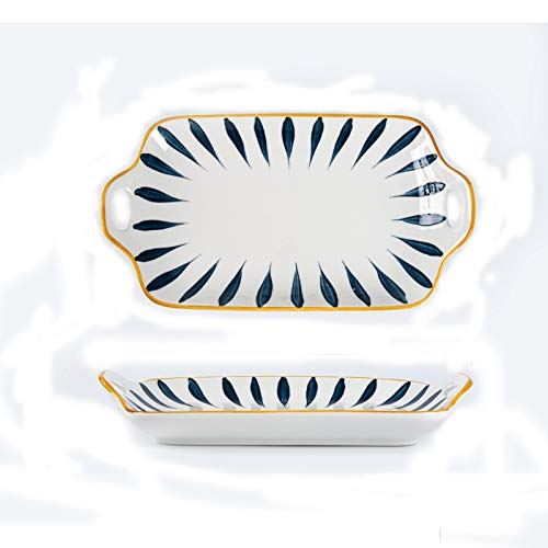 kerryshop Dinner Plate Rectangular Ceramic Dinner Plate, Large Fish Plate with Two Handle, Personalized Dessert, Sushi Plate, Family and Restuarant Use. Plate (Color : A, Size : 2pack)