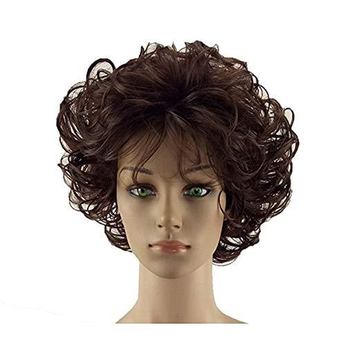DER Frauen Perücke 2 Töne Grau Weiß Synthetische Kurz geschichtetes lockiges Haar Puffy Bangs Hitzebeständige 7 Farbe erhältlich (Color : Medium Brown, Stretched Length : 12inches)