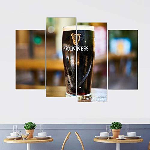 KOPASD 4 Piezas Modernos Mural Elaborar Cerveza Cuadro en Lienzo,impresión artística,único,Pasillo Decor Pared Cuadro Carteles Innovador