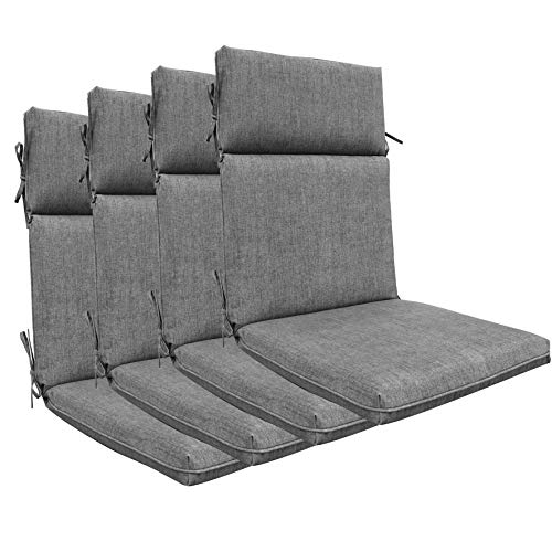 BOSSIMA Indoor Outdoor High Back Chair Cushions Replacement Patio Chair Seat Cushions Set of 4 (Olefin Light Grey)