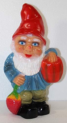Gartenzwerg Deko Garten Figur Zwerg Gärtner stehend mit Kürbis und Erdbeere aus Kunststoff H 26 cm