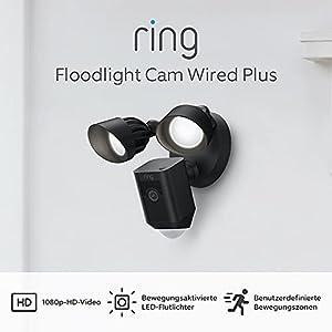 Die neue Ring Floodlight Cam Wired Plus von Amazon | 1080p-HD-Video, LED-Flutlichter, integrierte Sirene, festverdrahtete Installation | Mit 30-tägigem Testzeitraum für Ring Protect | Schwarz