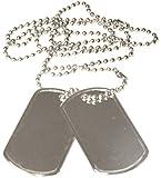 2er Set US Army Erkennungsmarke mit Ketten Hundemarke Dog Tag Farben: Schwarz, Silber oder Gold...
