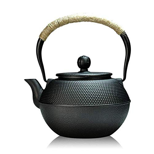 Yruog Teteras Tetera de hierro fundido Tetera japonesa de hierro fundido con infusor de acero inoxidable Tetera antigua de punto pequeño como regalo Negro 1200 ml
