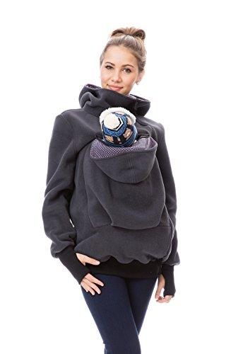 GFWL Tragejacke #Känguru Mama Baby Trage Jacke Allround Fleece GF2301XJ in Graphit mit pinken Punkten auf Dunkelgrau, Größe Damen EU:L (40EU/14UK/10US)