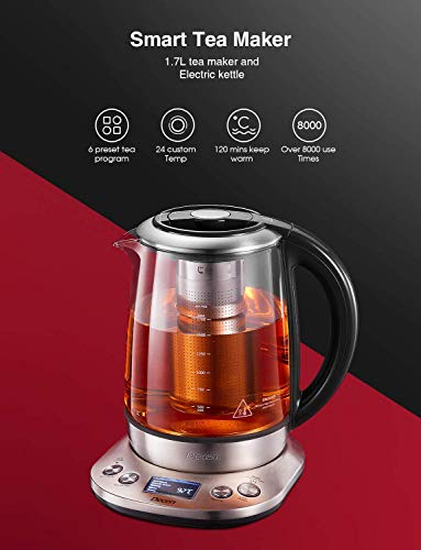 Kettle Decen 1.7L Tea Kettle with Removable Tea Infuser, LCD Display Stainless Steel Glass Kettle with 6 Temperature Presets, 120 Mins Smart Keep Warm, Auto Shut-Off & Boil-Dry Protection, BPA free
