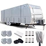 FRUNO 300D Travel Trailer RV Cover 30'-33' Windproof & Anti-UV Camper Cover for Winter Snow with Jack Cover and 4 Tire Covers (30'-33')