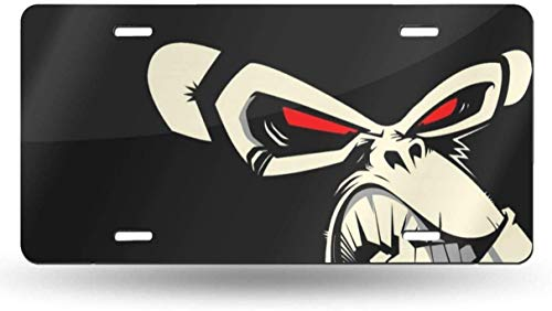 PENGGE Cartoon Angry Monkey Red Eyes Tag Decorative Aluminum License Plate Cover Novelty Car License Frame 6 X 12 Inch