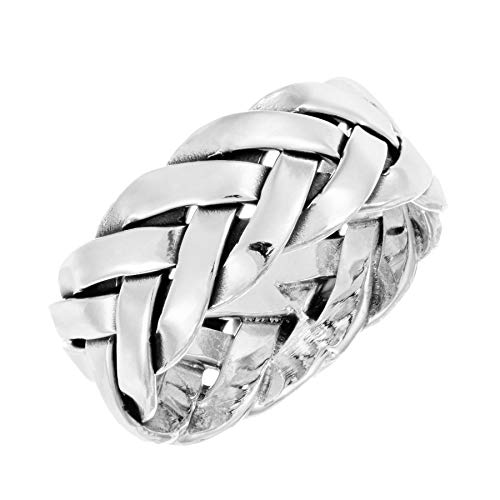 Silverly Men's Women's .925 Sterling Silver 7.7 mm Double Braided Woven Ring
