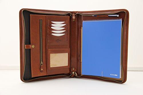 Cartellina da conferenza in vera pelle italiana, chiusura con zip, formato A4 Cognac