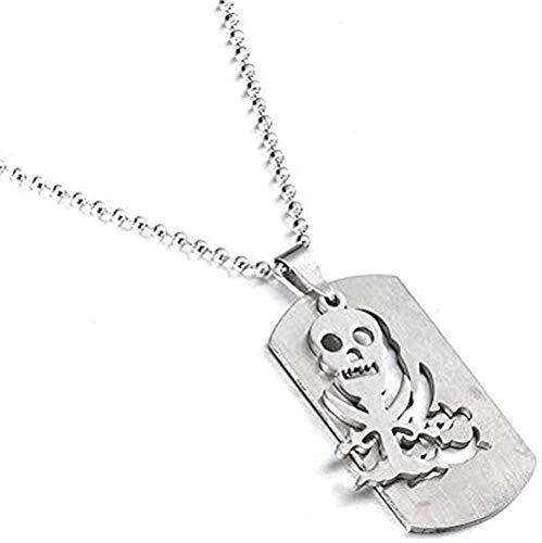 Collar Charm Esqueleto Etiqueta de perro Piratas del Caribe Colgante Acero inoxidable para hombres y mujeres Collares Cadena de acero inoxidable Collar colgante Regalo para mujeres Hombres Niñas Niños