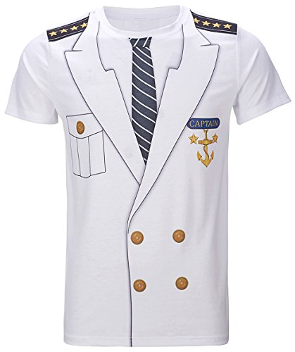 Funny World Men's Captain Costume T-Shirts (XL, White)