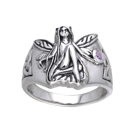 Enchanted Fairy Princess Sterling Silver Faery and Genuine Amethyst Celtic Knot Ring Size 7(Sizes 4,5,6,7,8,9,10)