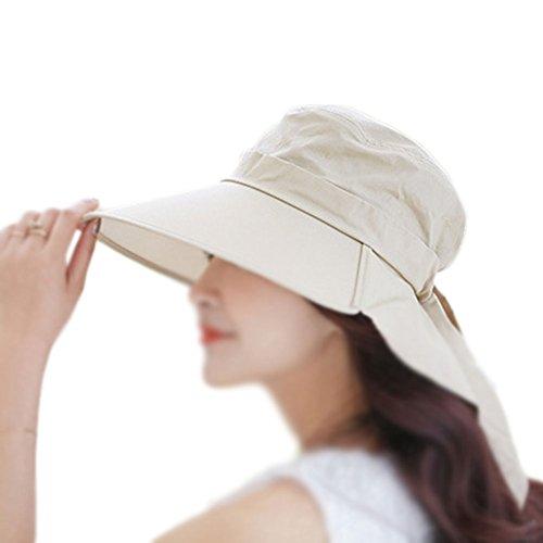 LAMEIDA Gorro de Visera Sombrero de Lona Sombrero de Playa Sombrero Plegable Ajustador para Mujeres Ciclismo Sombrero de Sol de Verano Protección UV Protector Solar Plegable 1PCS Beige