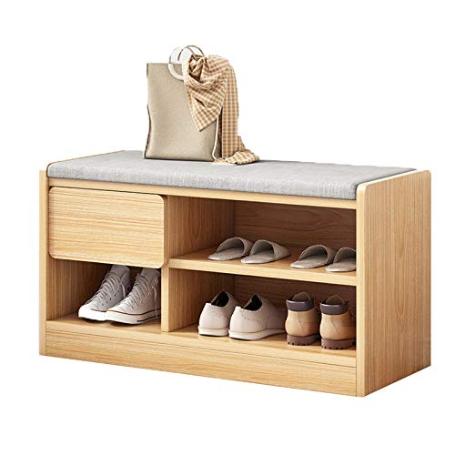 JBTM Panchina per Cambiare Scarpe, Panca Porta Scarpe e L'unità Contenitore, Scarpiera Multifunzione, Colore Naturale Legno,60cm